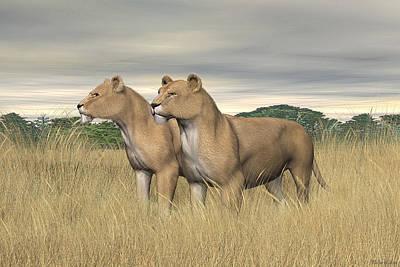 Digital Art - Two Hunters by Walter Colvin