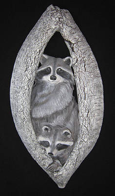 Ceramic Relief Sculpture - Two In A Tree by Janet Knocke