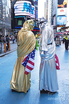 Two In Time Square Art Print by Ed Rooney