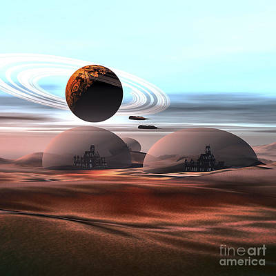 Utopia Digital Art - Two Jet Aircraft Fly Over Dome by Corey Ford