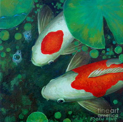Painting - Two Koi by Edoen Kang