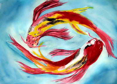 Painting - Two Koi For Words by Alethea McKee