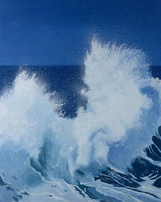 Crashing Wave Painting - Two Little Waves Breaking by Alan Byrne
