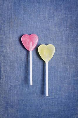 Two Lollipops On Blue Background Art Print by Elke Vogelsang