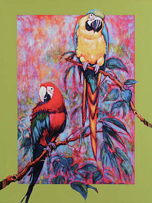 Captive Birds Of The Rain Forest Art Print