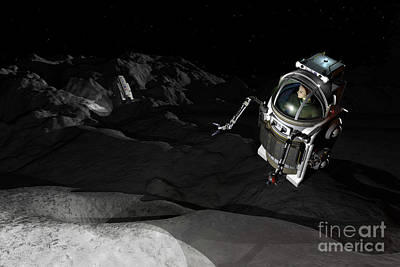 Planetoid Digital Art - Two Manned Maneuvering Vehicles Explore by Walter Myers