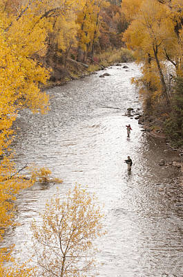 Two Men Flyfishing On The Aspen-lined Art Print by Pete Mcbride