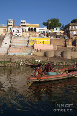 Cremation Ghat Photograph - Two Men In A Boat By Nishradraj Ghat by Serena Bowles