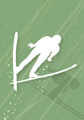Winter Sports Digital Art - Two Men Ski Jumping by Meg Takamura
