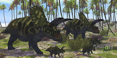 Two Mother Coahuilaceratops Escort Art Print by Corey Ford
