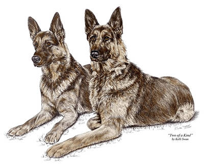 Drawing - Two Of A Kind - German Shepherd Dogs Print Color Tinted by Kelli Swan