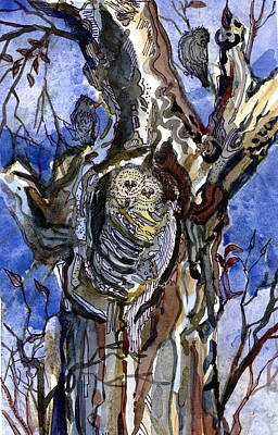 Two Owls And Two Crows Original by Mindy Newman