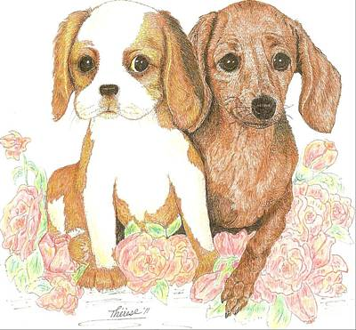 Drawing - Two Pals by Bill Hubbard
