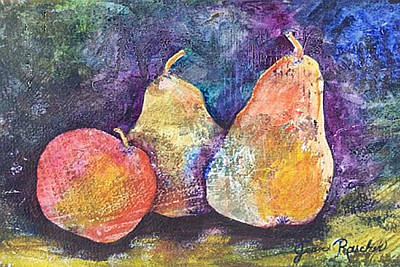 Two Pears And An Apple Art Print