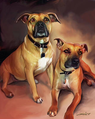 Painting - Two Pit Bull Terriers by Michael Spano
