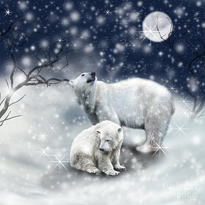 Photograph - Two Polar Bears In Snow With Moon by Ethiriel  Photography