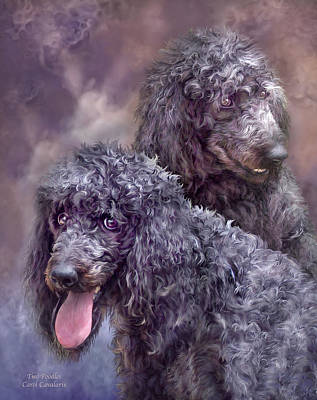 Mixed Media - Two Poodles by Carol Cavalaris