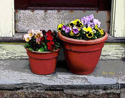 Digital Art - Two Pots Of Pansies by Dale   Ford