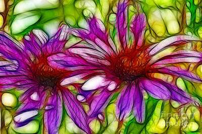 Two Purple Daisy's Fractal Art Print by Donna Greene