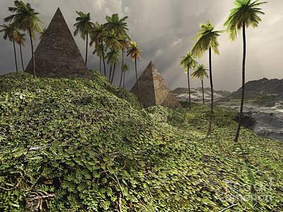 Plateau Digital Art - Two Pyramids Sit Majestically Among by Corey Ford