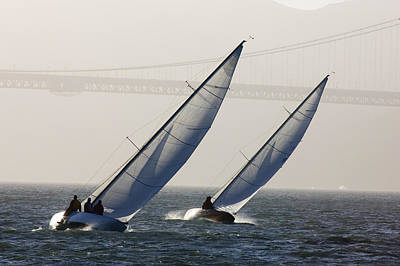Two Sailboats Race Upwind Towards Art Print by Skip Brown