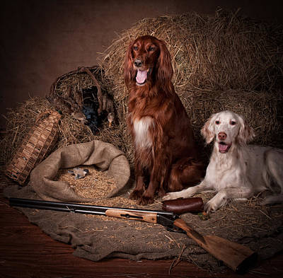 Gun Dog Painting - Two Setters With The Gun... by Tanya Kozlovsky