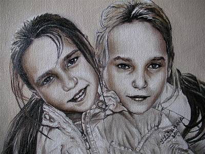 Children Painting - Two Sisters by Yulia Litvinova