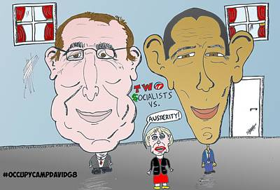 Occupy Drawing - Two Socialists Vs Austerity by Yasha Harari