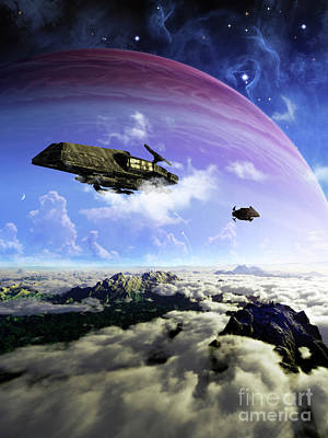 Separation Digital Art - Two Spacecraft Prepare To Depart by Brian Christensen
