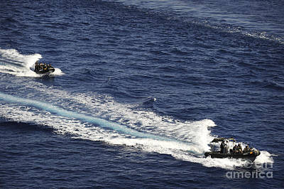 Inflatable Photograph - Two Spanish Navy Ridged-hull Inflatable by Stocktrek Images