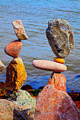 Balancing Photograph - Two Stacks Of Balanced Rocks by Garry Gay