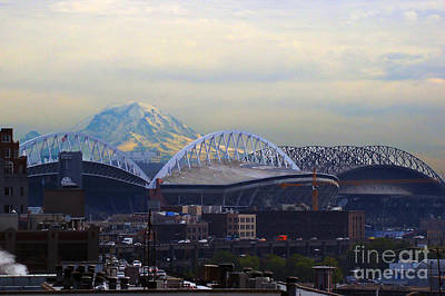 Photograph - Two Seattle Stadiums by Jack Moskovita