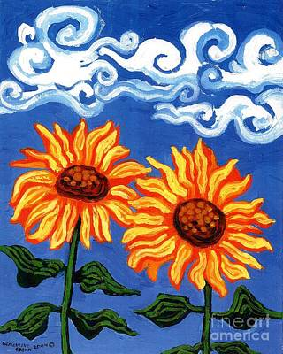 Two Sunflowers Art Print by Genevieve Esson