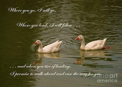 Photograph - Two Swans - Wedding Theme by Yali Shi
