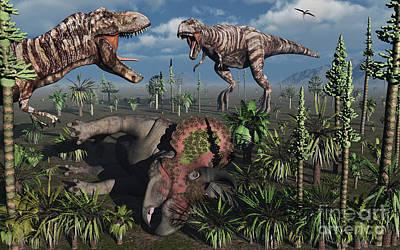Carcass Digital Art - Two T. Rex Dinosaurs Confront Each by Mark Stevenson