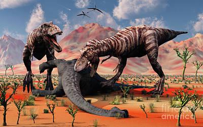Two T. Rex Dinosaurs Feed Art Print by Mark Stevenson