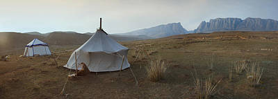Yurts Photograph - Two Traditional Yurts On A Flat Plain by Phil Borges
