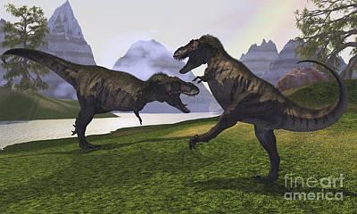 Triassic Digital Art - Two Tyrannosaurus Rex Dinosaurs Fight by Corey Ford