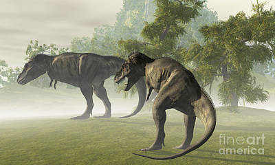 Two Tailed Digital Art - Two Tyrannosaurus Rex Rest In The Early by Corey Ford