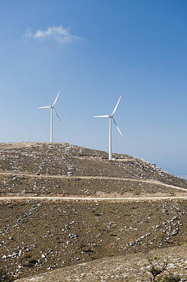 Two Wind Turbines On A Hill, Rhodes, Greece Art Print