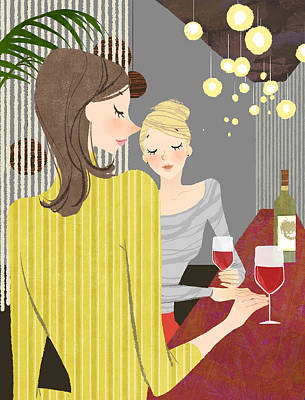 Stool Digital Art - Two Woman With Wine At Bar Counter by Eastnine Inc.