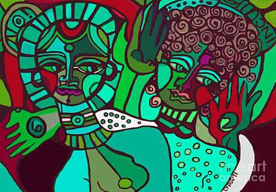 Pastel - Two Women Blues by Lydia L Kramer