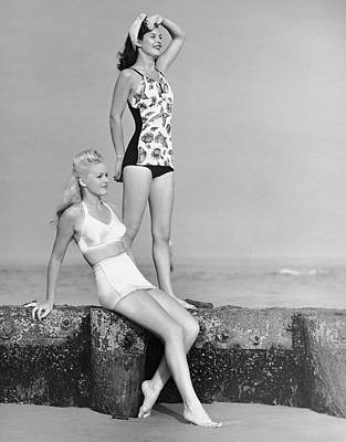 Two Women In Bathing Suits Art Print by George Marks