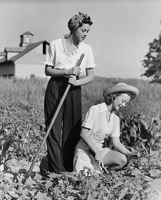 Two Women Working On Field, (b&w) Art Print by George Marks