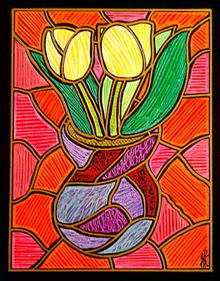 Decoupage Painting - Two Yellow Tulips by Jim Harris