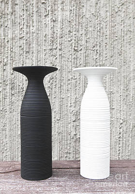 twoWhite and black vases Art Print by Chavalit Kamolthamanon