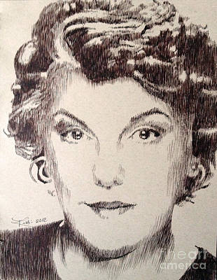 Robbi Musser Drawing - Tyne Daly by Robbi  Musser