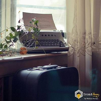 Typewriter Photograph - #typewriter #suitcase #window #vintage by Melissa Ferrara