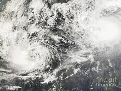 Photograph - Typhoons Mitag And Hagibis by Stocktrek Images