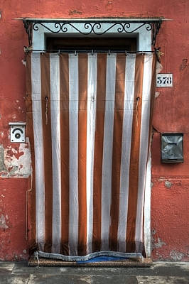 Typical Door In Southern Europe With A Curtain Art Print